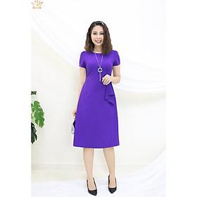 Đầm Thiết kế Đầm xòe Đầm thời trang công sở Đầm trung niên thương hiệu TTV324 tím - Đầm form A xếp bèo eo CT