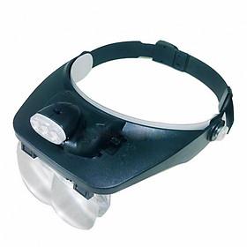 Kính lúp đội đầu sửa chữa đa năng 4 kính có thể ghép đôi có đèn xoay 180 độ