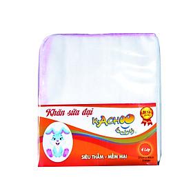 Khăn sữa 4 lớp Đại 37x40cm KACHOO - Số lượng 5 cái - 5 màu viền