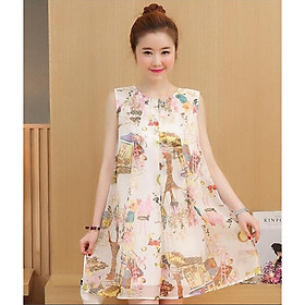 Đầm bầu đẹp mùa hè váy bầu hoạ tiết thời trang Hàn Quốc