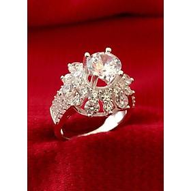 Hình đại diện sản phẩm Nhẫn nữ ổ cao gắn đá kim cương nhân tạo bạc ta -NU87 - trang sức Bạc QTJ(bạc)