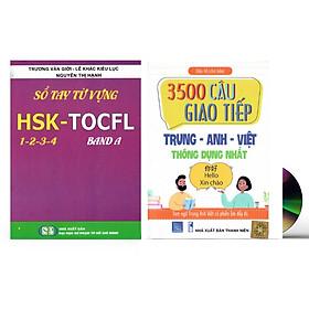 Sách-Combo 2 sách Sổ tay từ vựng HSK1-2-3-4 và TOCFL band A + 3500 câu giao tiếp Anh Hoa Việt thông dụng nhất có phiên âm + DVD tài liệu