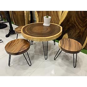Bàn cafe tròn gỗ me tây 60cm