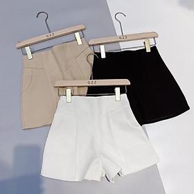 Quần short cạp cao ba màu-quần đùi nữ