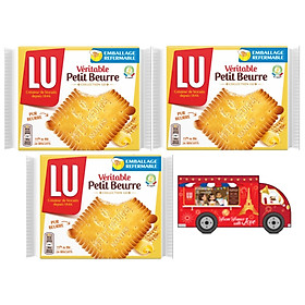 Combo 3 hộp bánh Lu Veritable Petit Beurre 200g Tặng xe bus mini LU