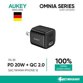 Củ Sạc Nhanh Omnia Aukey PA-B1 Cổng Type C Power Delivery 20W, Quick Charge 3.0 - Hàng Chính Hãng