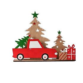 Christmas Wooden Desktop Pendant Cute Car Shape Party Ornament Xmas Party Desktop Doll Gift for Home Christmas Party