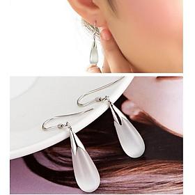 Bông tai khuyên tai ngọc trai thời trang nữ hình giọt nước rơi hạt cao cấp - màu trắng