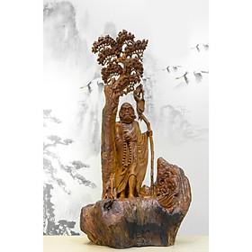 Tượng gỗ mỹ nghệ-Đạt Ma khất thực- gỗ Hương Gia Lai
