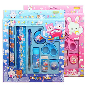 Bộ 9 dụng cụ học tập họa tiết thú hoạt hình xinh xắn dễ thương cho bé 88022