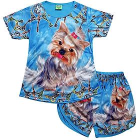 Áo bộ trẻ em in 3D hình chú chó lông xù - Độ tuổi từ 1 - 10 - AKN002