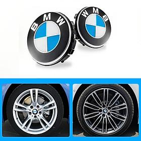 1 chiếc logo chụp mâm, ốp lazang ô tô, xe hơi BMW đường kính 68mm BMW68