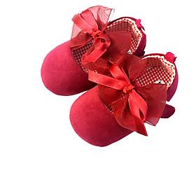 Giày Tâp Đi Bé Gái màu đỏ - nơ bản to - chống trơn trượt