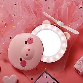 Gương Mini - Gương Trang điểm cầm tay kiêm Quạt mini hình Heo Siêu dễ thương có đèn Led 3 in 1 - Màu ngẫu nhiên