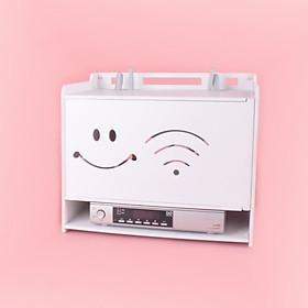 Hộp đựng wifi & ổ điện tiện lợi hình mặt cười và sóng wifi 3 Tầng không cần khoan tường