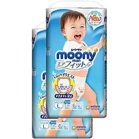 Bộ 2 tã quần cao cấp bé trai Moony L44 - [Tặng bộ quần áo Nous 18-24m]