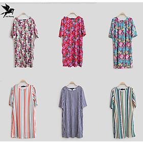 Đầm thời trang trung niên vải cotton thun co giãn 4 chiều cao cấp váy cho người có tuổi giá rẻ