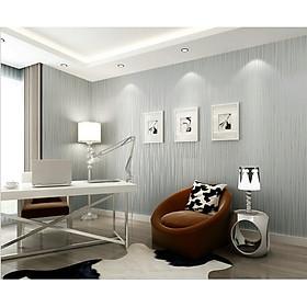 Giấy dán tường màu xám ghi vân chỉ , giấy lụa không sẵn keo, khô 53cm x 9.5m dài