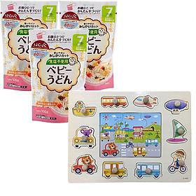 Combo 3 gói mì ăn dặm Hakubaku Baby – tặng bảng hình núm gỗ ( màu ngẫu nhiên )