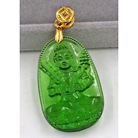 Mặt dây chuyền Phật Hư Không Tạng Bồ Tát pha lê xanh lá 3.6cm MFBXL6 - Phật bản mệnh tuổi Sửu, Dần