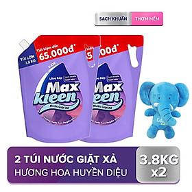 Combo 2 túi nước giặt xả Maxkleen Hương Huyền Diệu 3.8kg/túi Tặng Voi Bông (Giao màu ngẫu nhiên)
