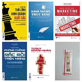 Combo Để trở thành thủ lĩnh xuất sắc:Để trở thành thủ lĩnh kinh doanh xuất sắc + Tư duy doanh nhân, hành động lãnh đạo + Khơi nguồn trực giác + Những chiến lược marketing tạo ra lợi nhuận +Tuyệt chiêu phòng chống rắc rối trên mạng dành cho doanh nghiệp (tặng bookmark kim loại)