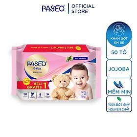 Khăn ướt em bé Paseo 50 tờ chiết xuất tinh dầu quả Jojoba