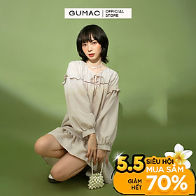 Đầm nữ phom rộng lai bèo GUMAC DB1144