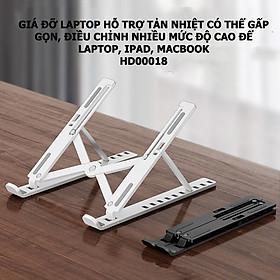 Giá đỡ laptop hỗ trợ tản nhiệt có thể gấp gọn, điều chỉnh nhiều mức độ cao để Laptop, Ipad, Macbook HD00018 (Giao Màu Ngẫu Nhiên)