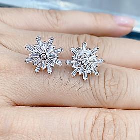 Bông tai bạc xi bạch kim bông hoa nhỏ (CÓ ẢNH THẬT)