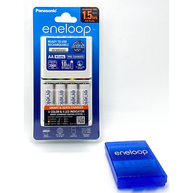 Bộ Sạc Nhanh Panasonic  BQ CC55 (Smart Quick Charger ) Kèm 4 Pin Eneloop AA BK3MCCE 2000 mah Hàng Chính Hãng