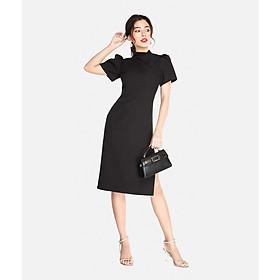 HNOSS Đầm midi ngắn tay cổ cao 80% Polyester 20% Coton TDS12010046GC