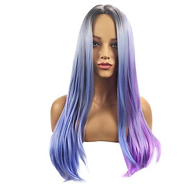 Fantasy High-temperature Synthetic Fiber Synthetic Fairy Color Stright Wigs Natural Matte Hair for Women