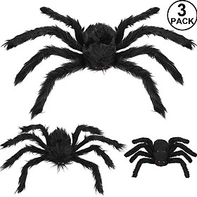 Halloween Spider Decorations, Aitey Halloween Scary Giant Spider Set with 3 Large Fake Spider, Spider Web, Cobwebs for