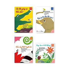 """Bộ 04 cuốn Ehon Nhật bản Accototo- """"Những mẩu chuyện nhỏ - Những kiến thức lớn"""": Này, bạn có biết không? + Ai đã giúp ai thế nhỉ? + Nếu tớ lớn lên thì sao? + Điều này thật tuyệt vời"""