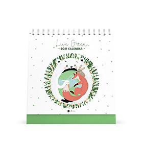 Lịch bàn vuông giấy mỹ thuật SDstationery 2021 Live Green (sống xanh) 20x20 cm