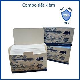 Combo Tiết Kiệm - 3 hộp khẩu trang y tế kháng khuẩn 4 lớp 4M Ultra Filter màu trắng - Thương hiệu 4M - Chuẩn quốc tế lọc bụi, lọc khuẩn BFE - VFE - PFE >99%
