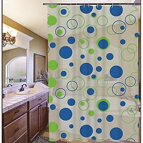 Rèm Phòng tắm PEVA không thấm nước 1.8m chấm tròn xanh bự
