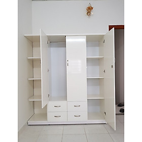 Tủ áo kèm kệ trang trí 1m6 x 1m8 x 0,5 m (trắng)
