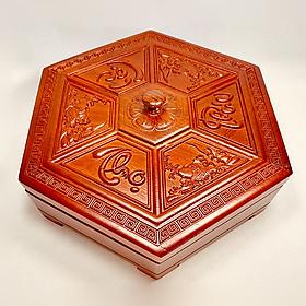Khay mứt tết - hộp đựng mứt gỗ hương chạm viền và mặt Phúc Lộc Thọ