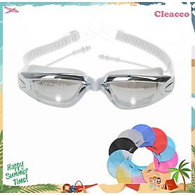Kính Bơi Tráng Gương  kèm bịt tại cao cấp Cleacco chống sương mù , chống tia UV Hàng chính hãng - Tặng kèm nón bơi Silicon ( Màu ngẫu nhiên )