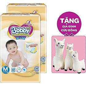 Combo 2 Tã Quần Cao Cấp Bobby Extra Soft Dry M60 (60 miếng) - Tặng 1 set Gia Đình Cừu Bông (3 món)
