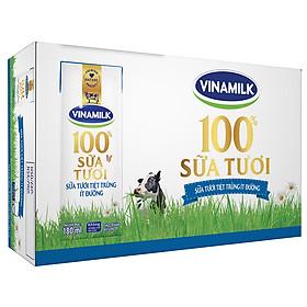 Thùng 48 Hộp Sữa Tươi Tiệt Trùng Vinamilk 100% Ít Đường (180ml)