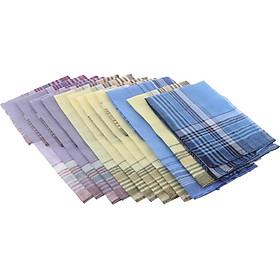 12Pack Mẫu Kẻ Sọc Nam Khăn Tay Cổ điển Pocket Vuông Hanky