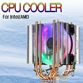 CPU Cooler 4 Heatpipe 4Pin LED RGB Fan for Intel LGA 775/1155/1156/1150/1366 AMD