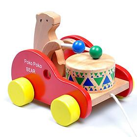 Xe Thú Đánh Trống Bằng Gỗ - Chọn Mẫu Gấu -Thỏ - Ếch