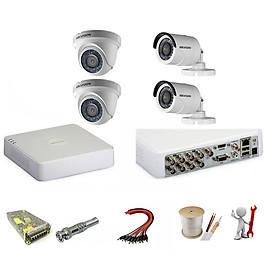 Trọn bộ 4 camera Hikvision 1.0 Megapixel - Hàng chính hãng
