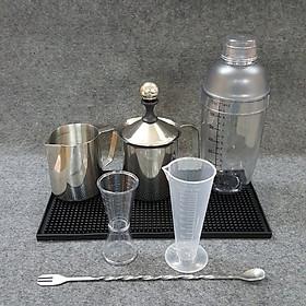 Combo 7 dụng cụ pha chế cà phê, sinh tố, bar (Shaker 700ml in đậm)