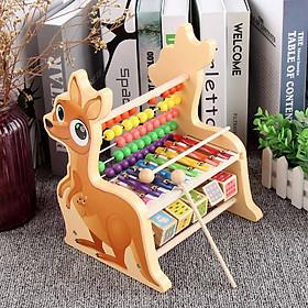 Bộ đồ chơi đàn kết hợp bàn tính hình chuột túi MK - đồ chơi thông minh bằng gỗ