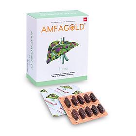 Viên uống Amfagold Hepa giúp giải độc gan, bổ gan, bảo vệ gan, tăng cường chức năng gan có chứa diệp hạ châu và sylimarin, phù hợp với người dùng nhiều bia rượu, chướng bụng, khó tiêu